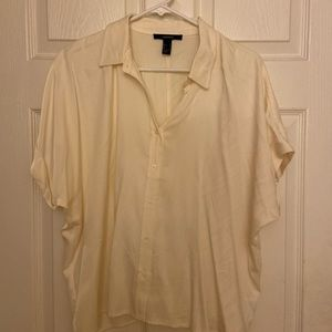 Forever 21 Cream Oversized Button Down Blouse (S)